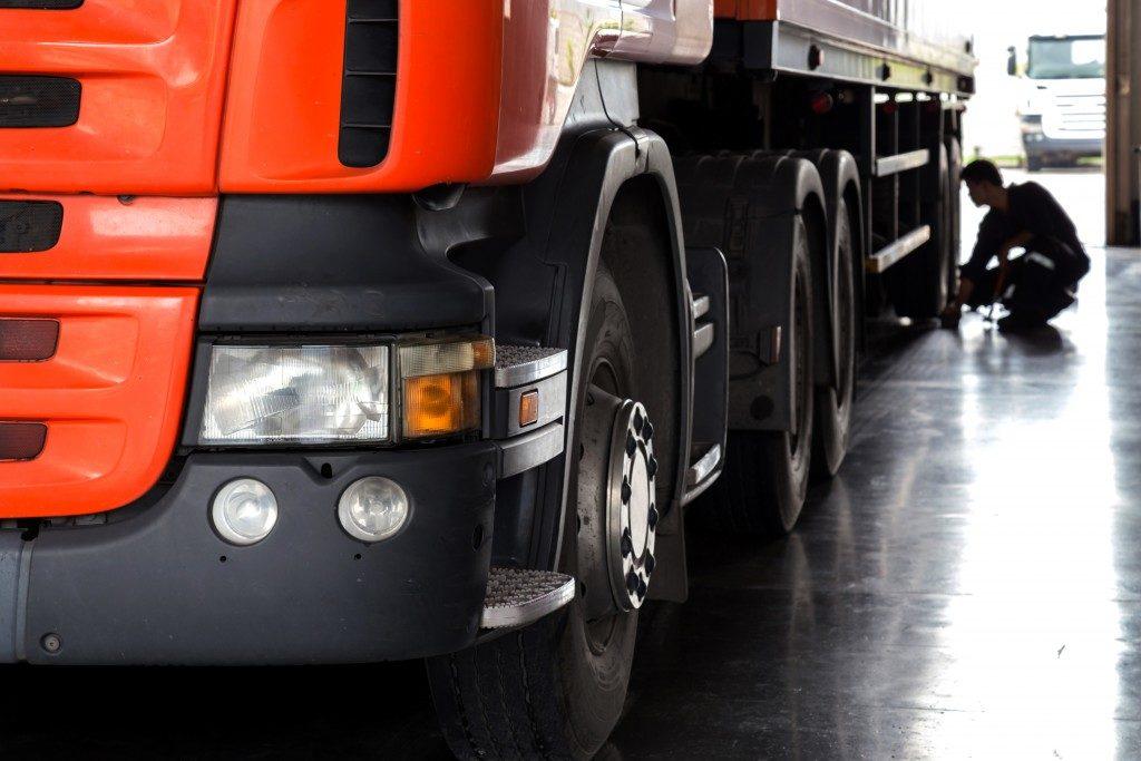 truck in a garage