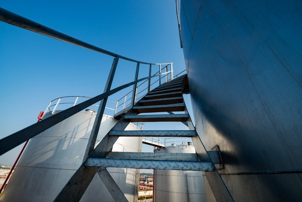 Large storage tank with a staircase