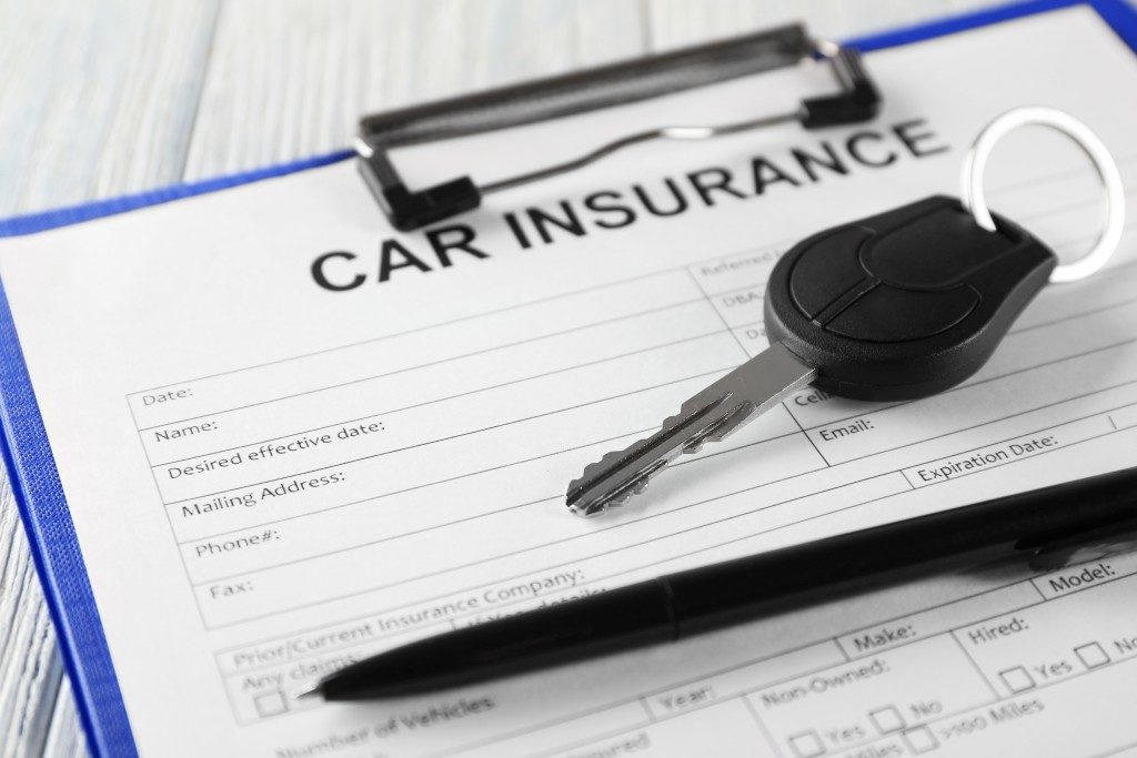 Car insurance form and key