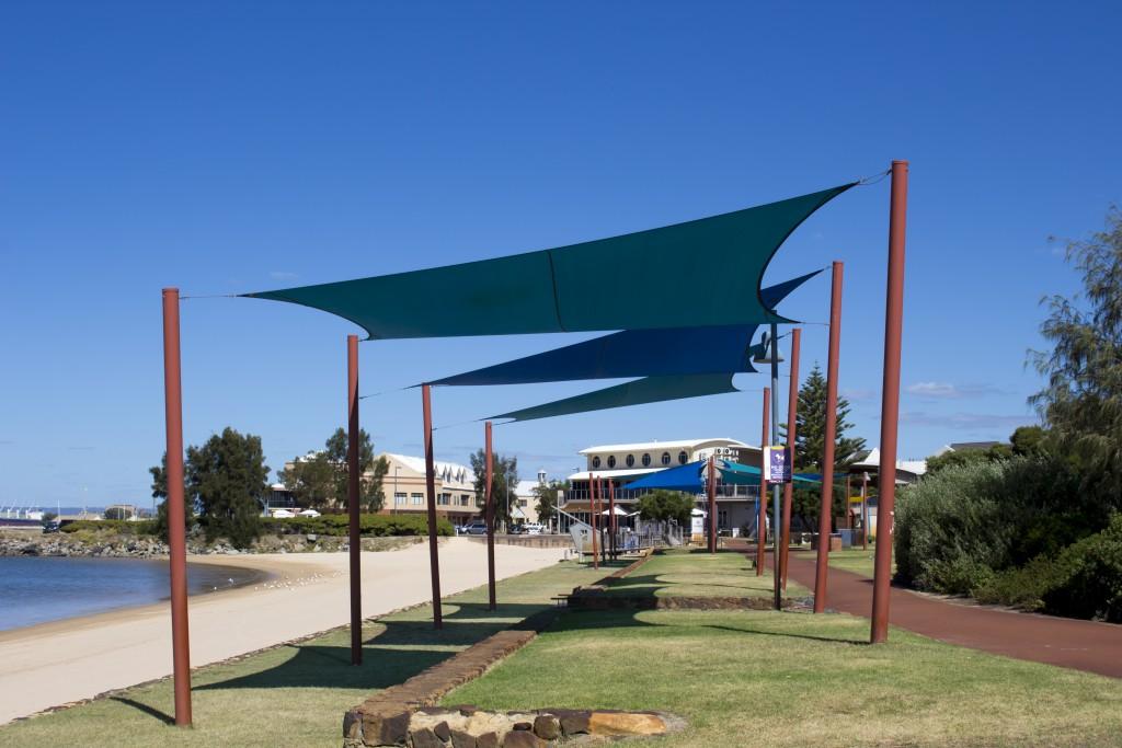 Fabric shade near a beach