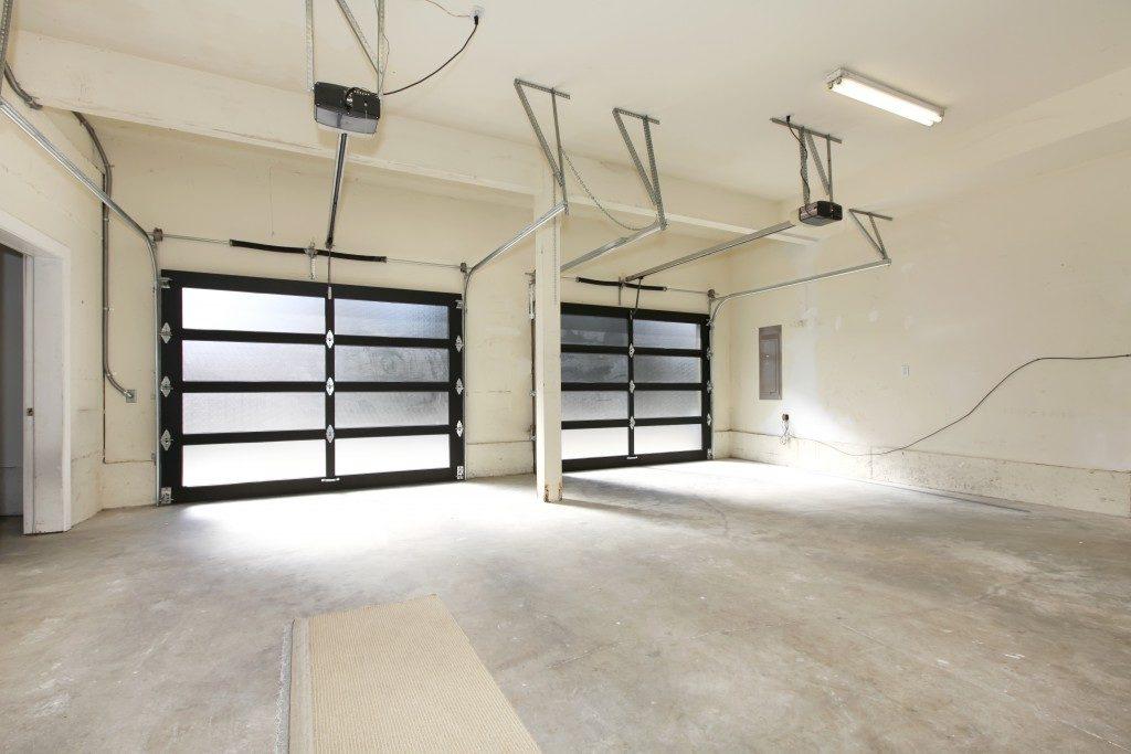 empty garage with glass doors
