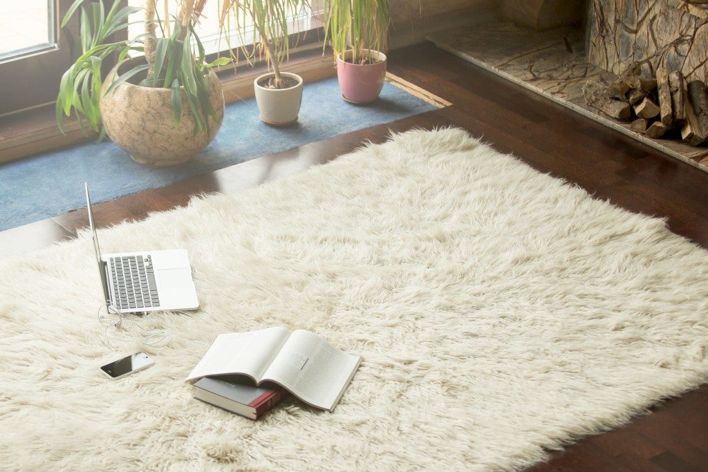 Carpet on the floor with books and laptop