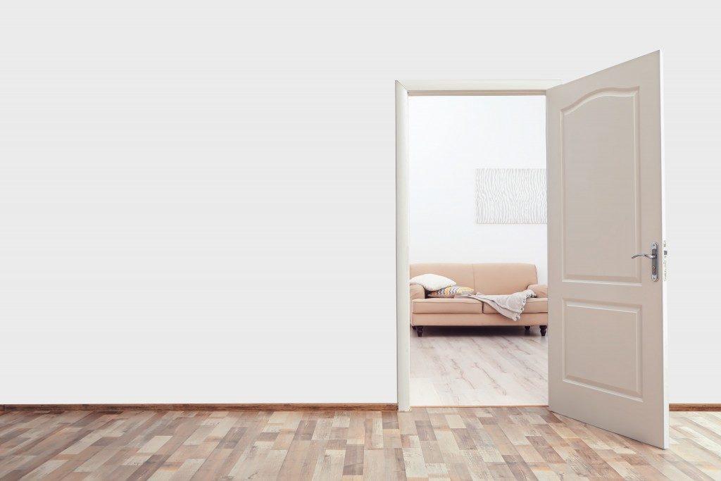 home's wide doorway to living room