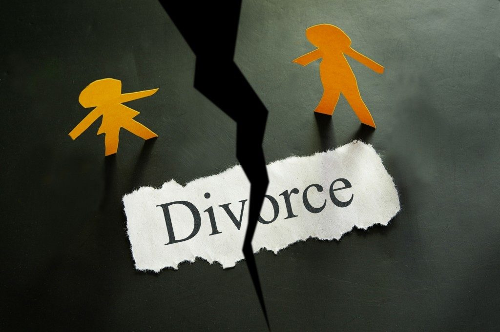 torn paper with divorce written on it
