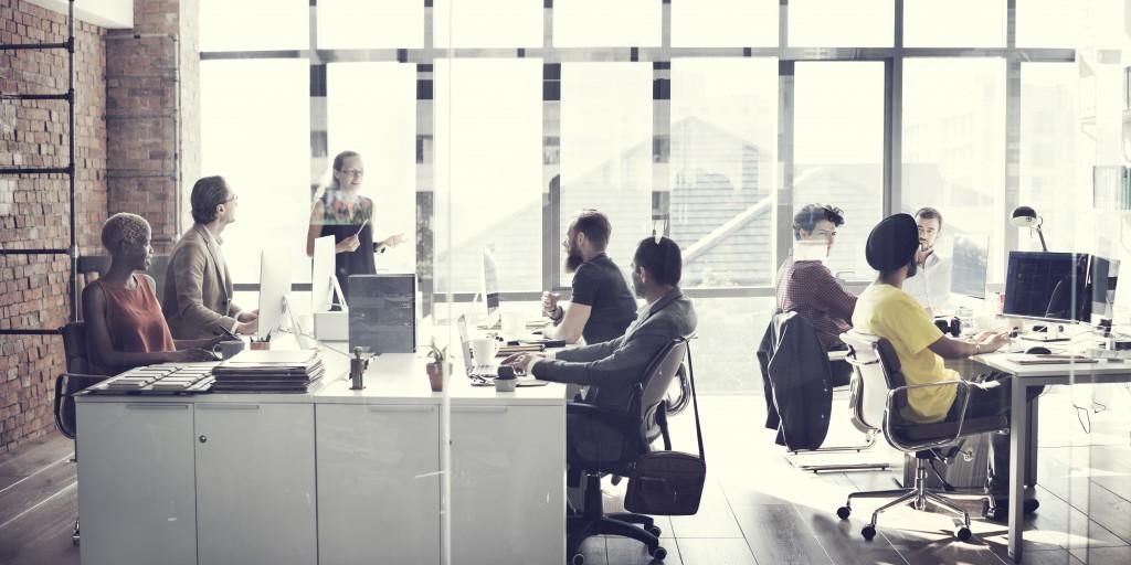 Employees in a modern office