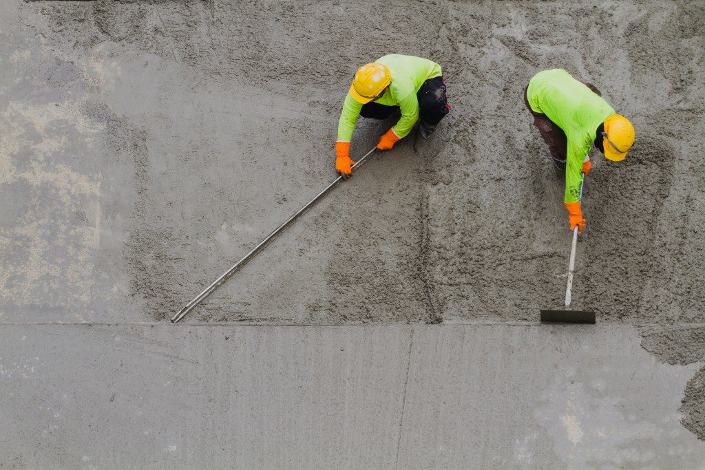 Laying of concrete