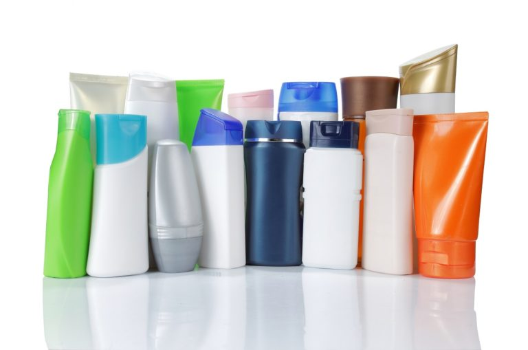 Plastic bottles and containers of products