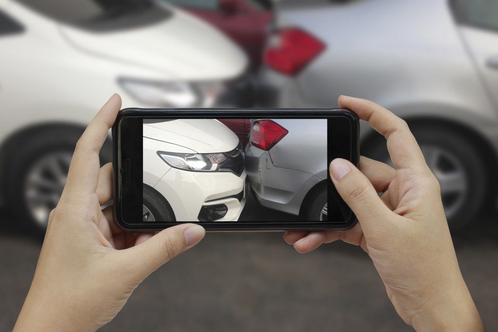 Taking a picture of bumped cars