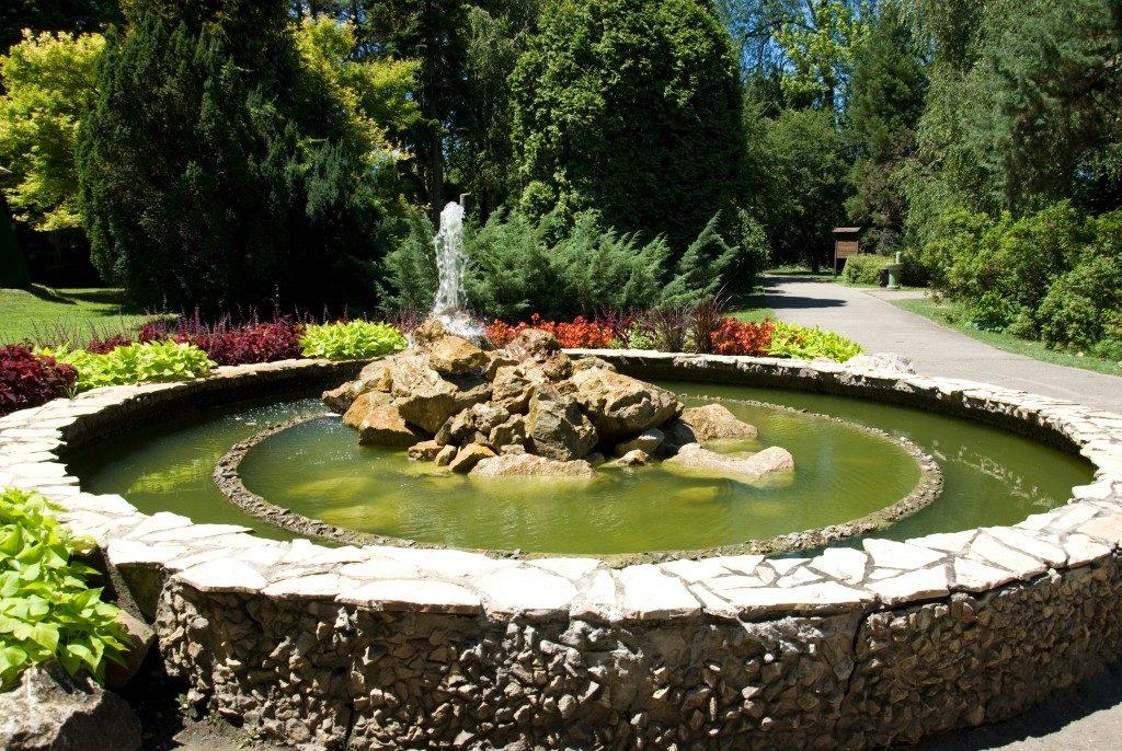 fountain by the garden