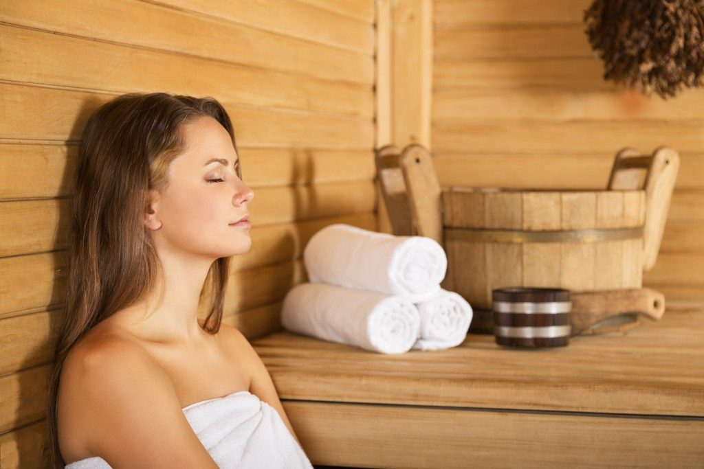 woman inside a sauna