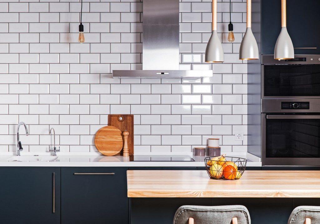 kitchen with brick walls