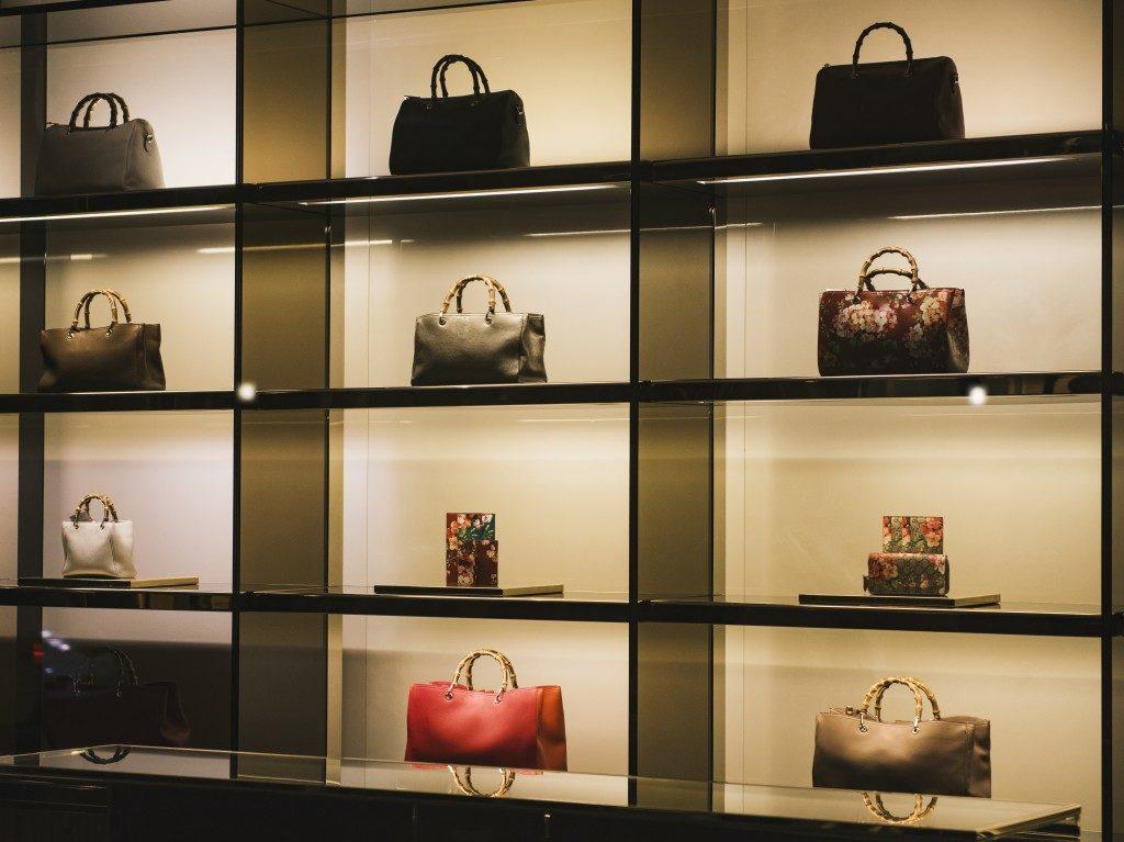 Handbags in a luxury fashion store
