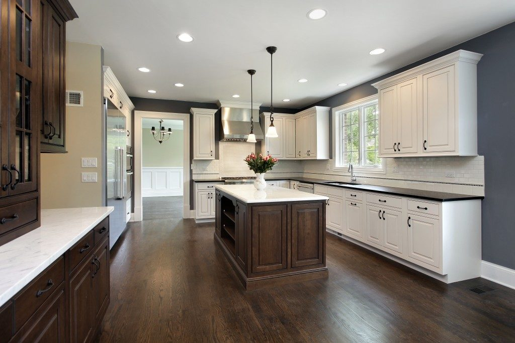 kitchen with hanging cabinets