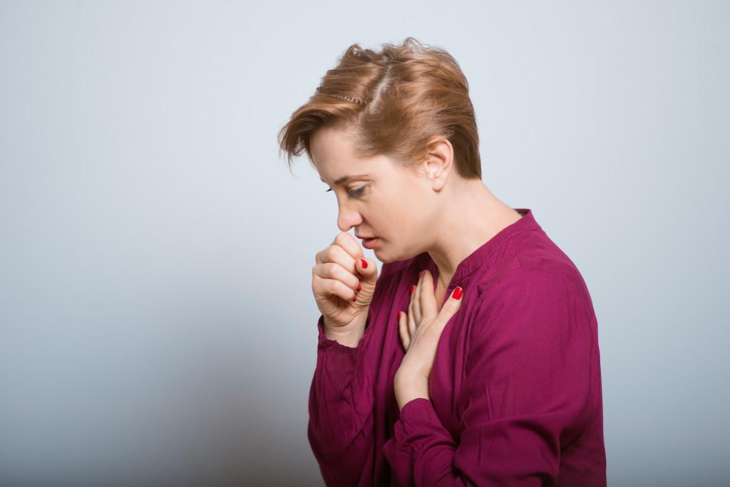Woman sick with bronchitis
