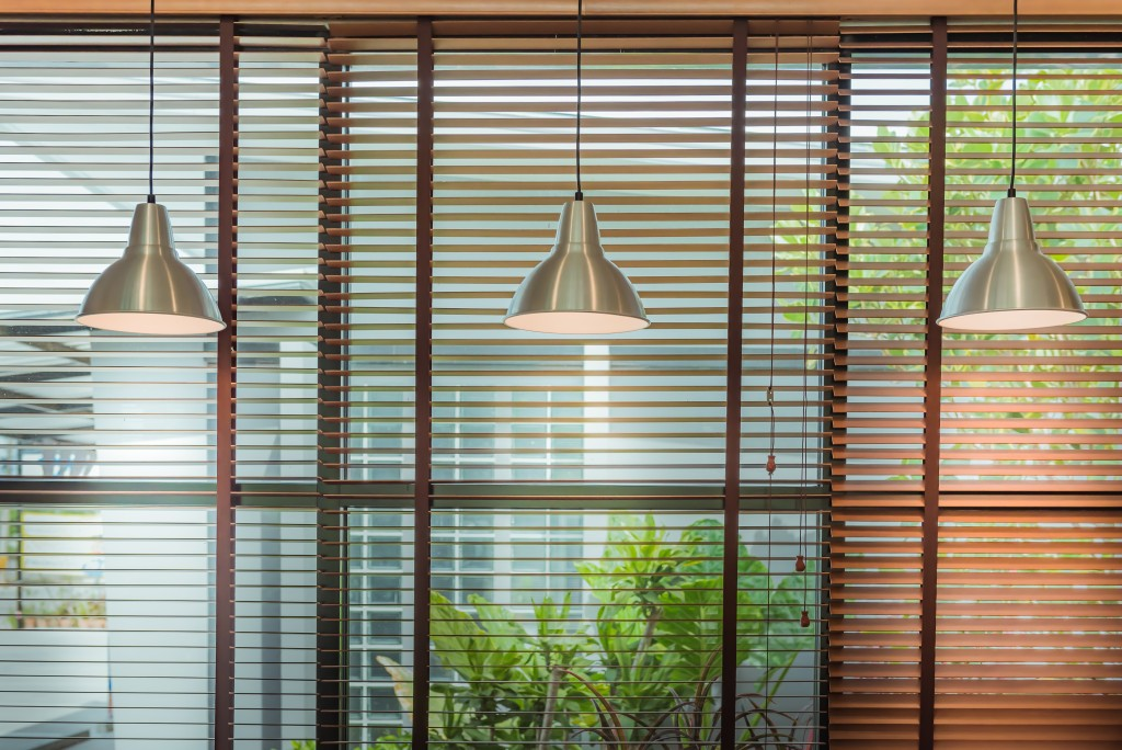 windows with blinds