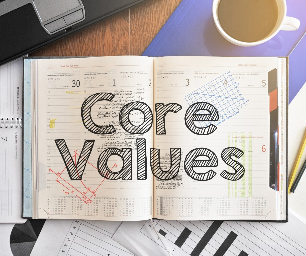 core values on notebook