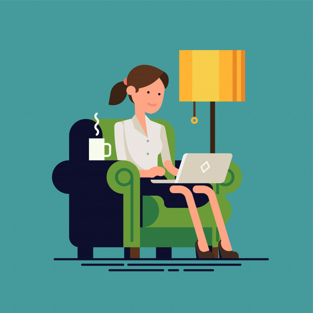 icon of woman working from home