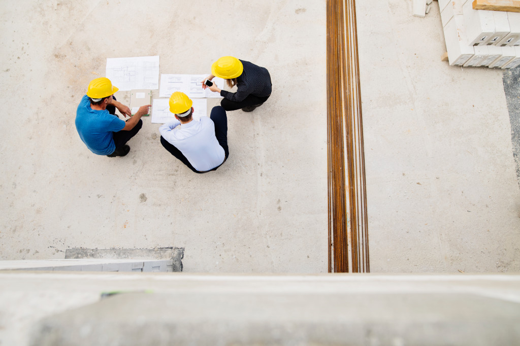 engineers and foreman in the construction site